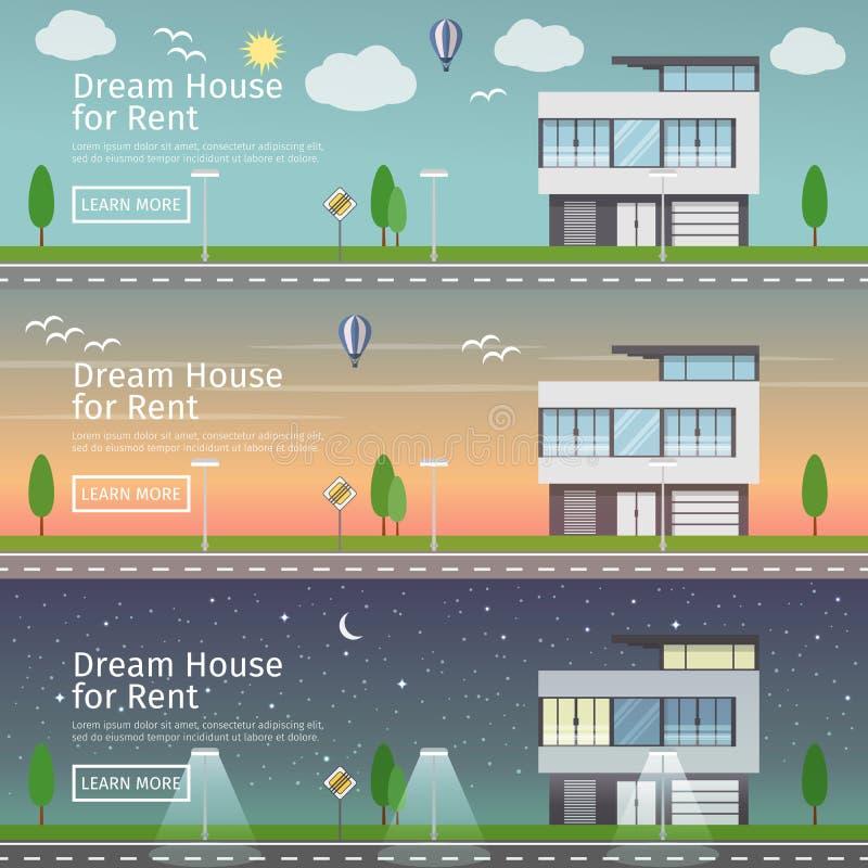 Mooie reeks vlakke vectorwebbanners op het thema modern Real Estate vector illustratie