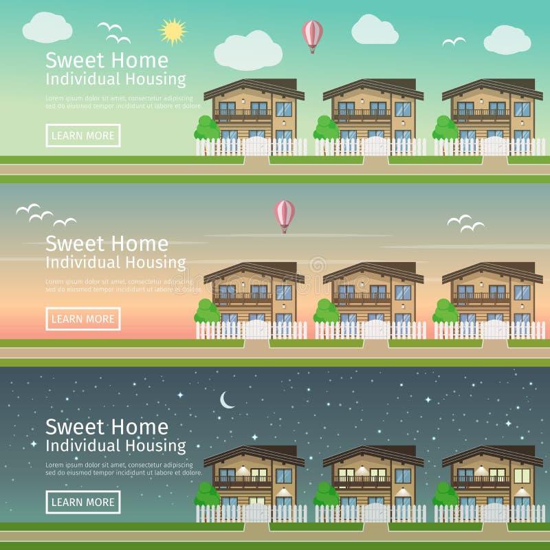 Mooie reeks vlakke vectorwebbanners op het themaland Real Estate stock illustratie