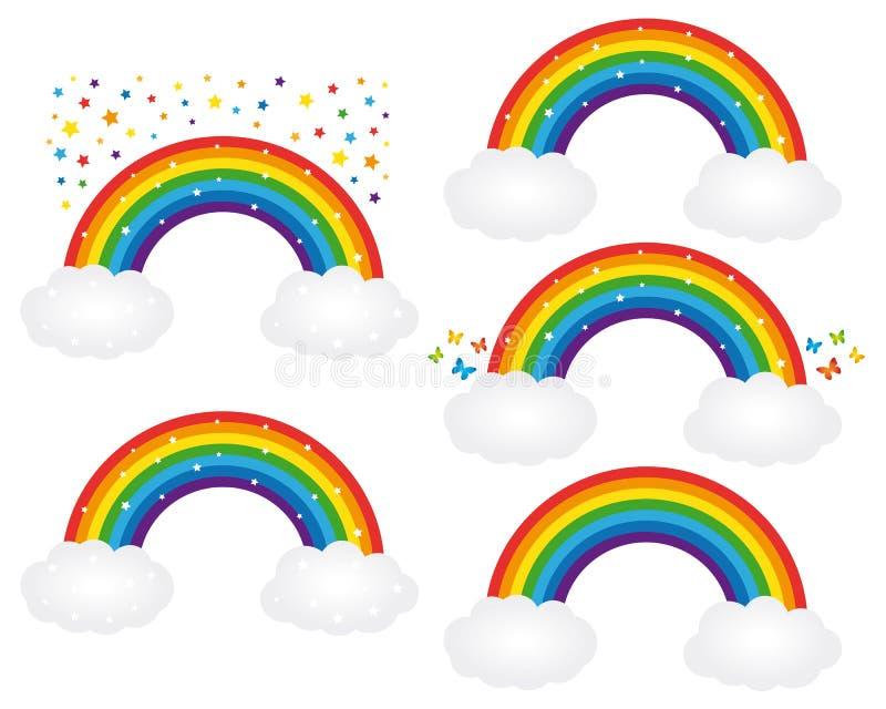 Mooie regenbogenillustraties Vector geplaatste pictogrammen stock illustratie