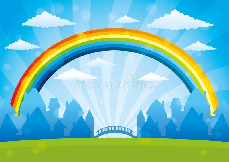 Mooie regenboog in de blauwe hemel stock illustratie