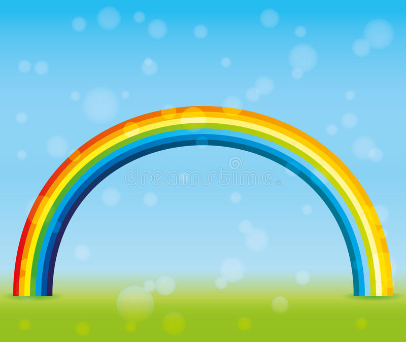 Mooie regenboog in de hemel stock illustratie