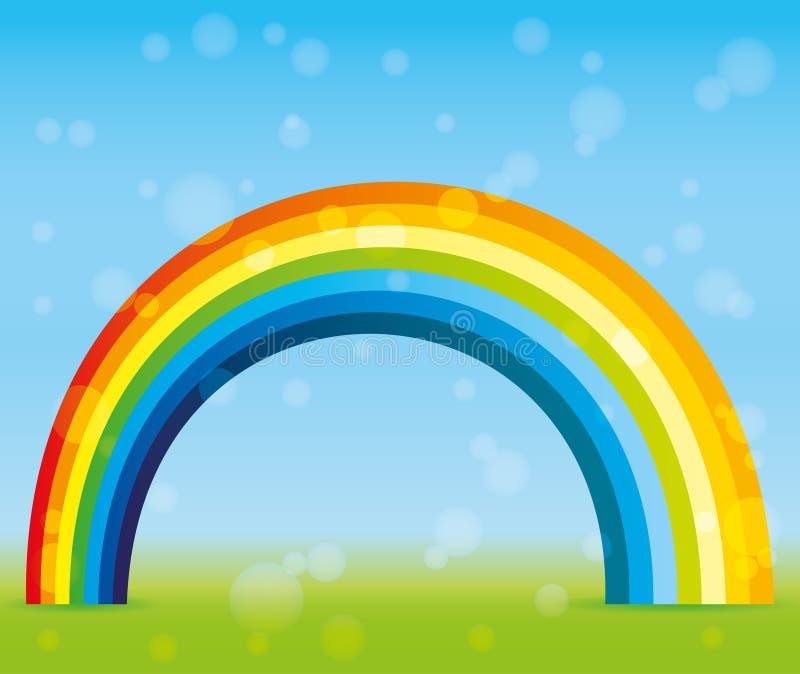 Mooie regenboog in de hemel royalty-vrije illustratie