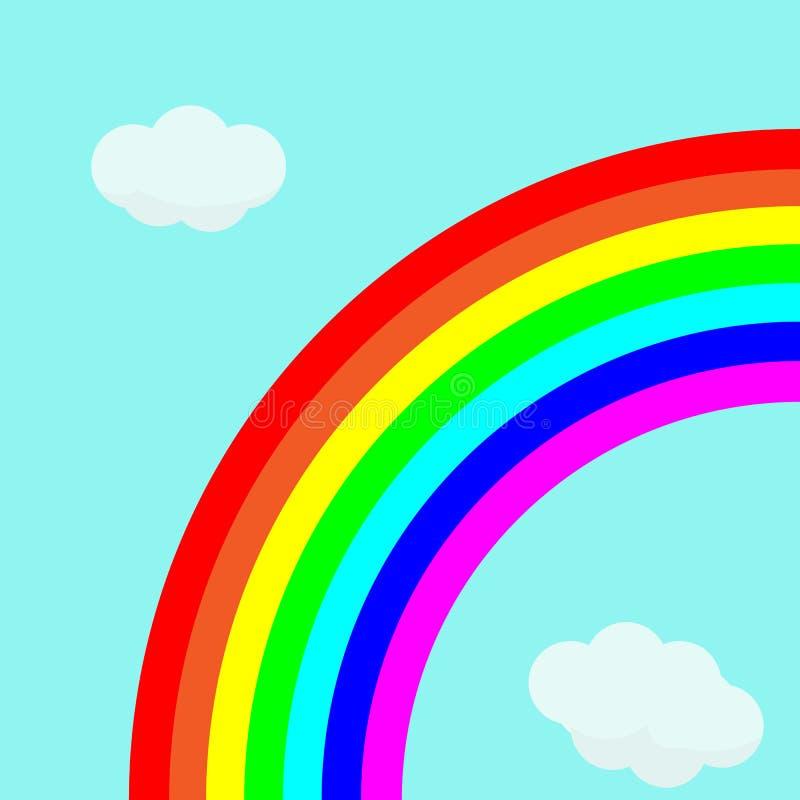 Mooie regenboog in heldere hemel met wolken stock illustratie