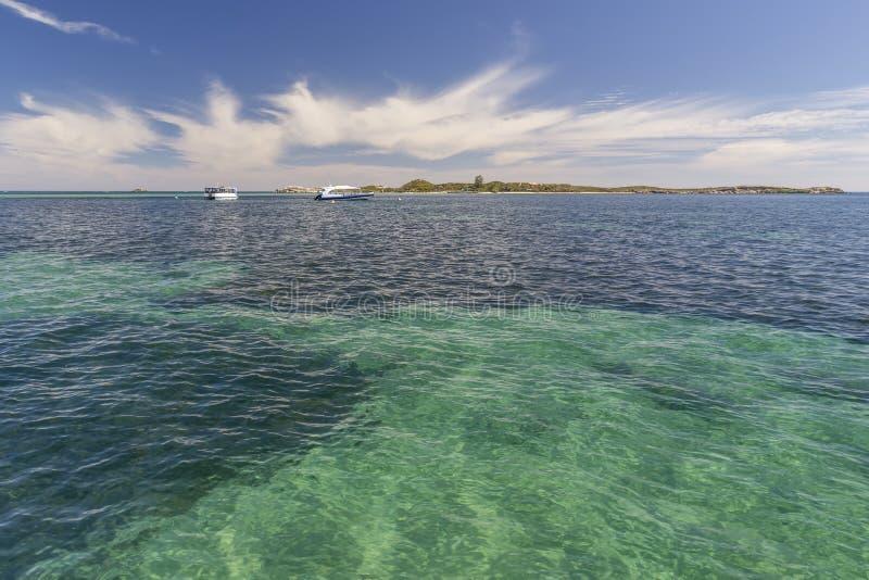 Mooie rek van overzees met duidelijk water tussen Rockingham en Pinguïneiland, Westelijk Australië stock foto's