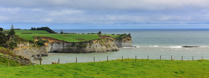 Mooie rek van Witte Klippen langs de Bocht van het Noordentaranaki in Nieuw Zeeland royalty-vrije stock fotografie