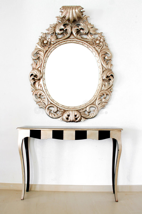 Mooie Retro barokke spiegel stock foto