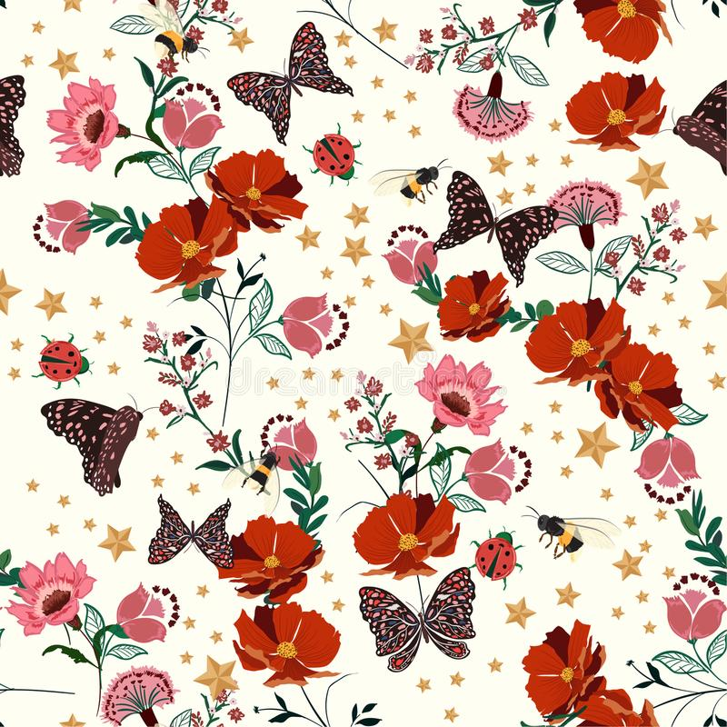 Mooie retro bloeiende bloemen met insect, bijen, vlinder, dame vector illustratie