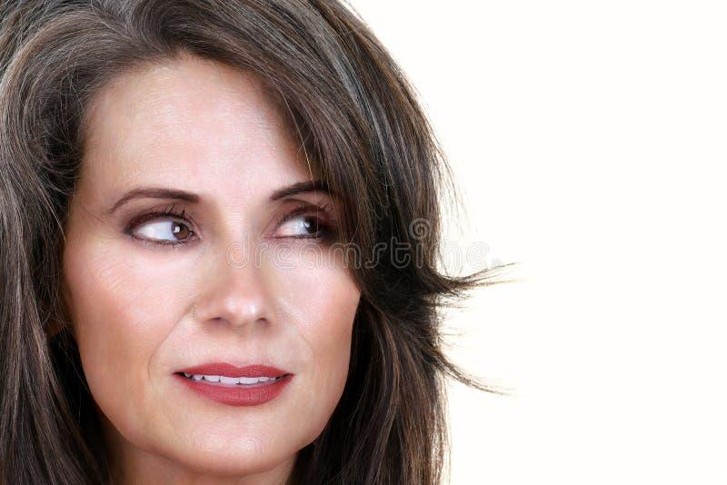 Mooie Rijpe Vrouw die aan Kant kijken royalty-vrije stock afbeeldingen