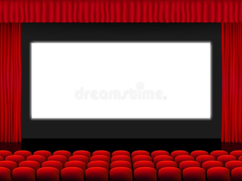 Mooie rode bioskoopzaal met zetels die het wit scherm tussen rood gevouwen gordijngordijn onder ogen zien op een zwarte stadiumve vector illustratie