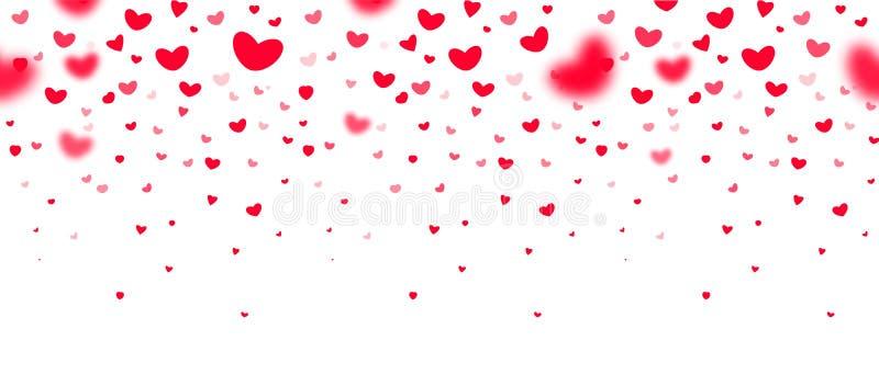 Mooie rode dalende harten in nadruk en in defocus op witte achtergrond, een uitstekend kader voor groetkaarten, valentijnskaarten royalty-vrije illustratie