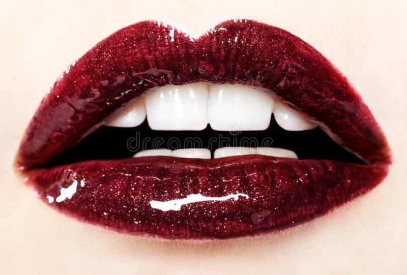 Mooie rode glanzende lippen stock foto