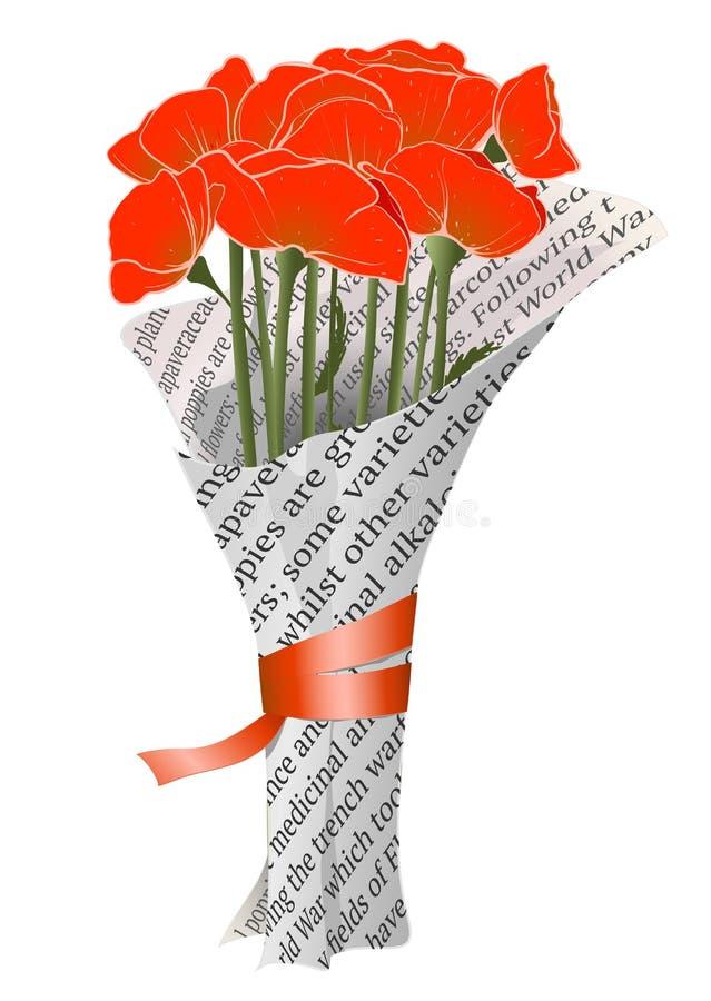Download Mooie Rode Papavers In De Illustratie Van De Krant Vector Illustratie - Illustratie bestaande uit rood, posy: 29504713
