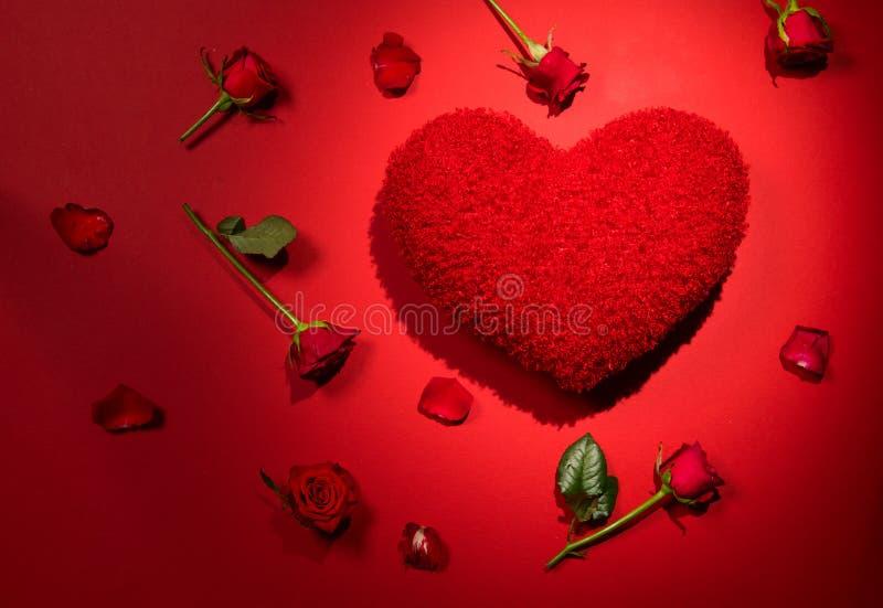 Mooie rode rozen en pluizige rode hart gestalte gegeven hoofdkussenachtergrond Het hart van de schoonheidsvakantie, nam bloemen m stock afbeeldingen