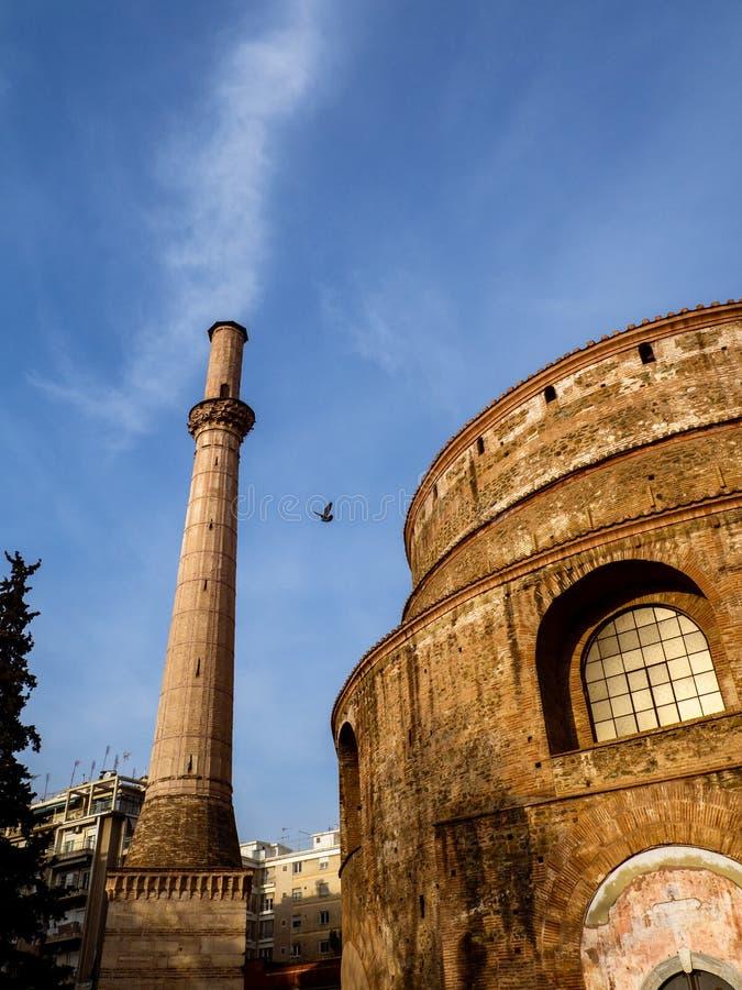 Mooie Roman Rotunda-tempel in Thessaloniki van 306 ADVERTENTIE nu een Orthodoxe Christelijke kerk stock foto