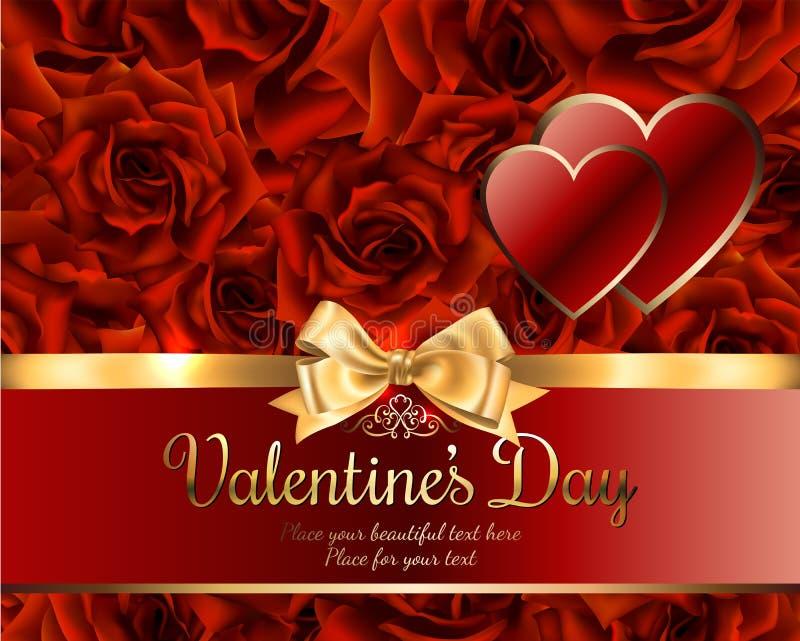 Mooie romantische kaart voor valentijnskaarts dag of huwelijk, rode rozenachtergrond, plaats voor u tekst met gouden lint en boog vector illustratie