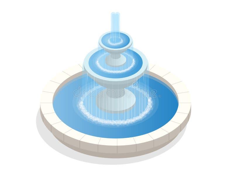 Mooie ronde fontein op drie niveaus Een streek van rust en ontspanning Vlakke vector isometrisch op witte achtergrond stock illustratie