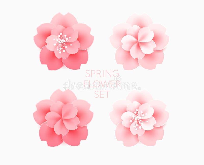 Mooie roze geïsoleerde vectorillustrati van de bloemenkers bloesem vector illustratie
