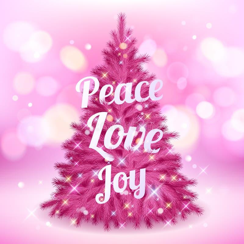 Mooie roze Kerstmisboom met groeten vector illustratie