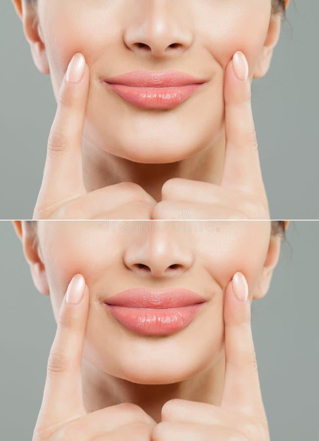 Mooie roze lippen na het collageen van de vullerinjectie om te stijgen royalty-vrije stock afbeeldingen