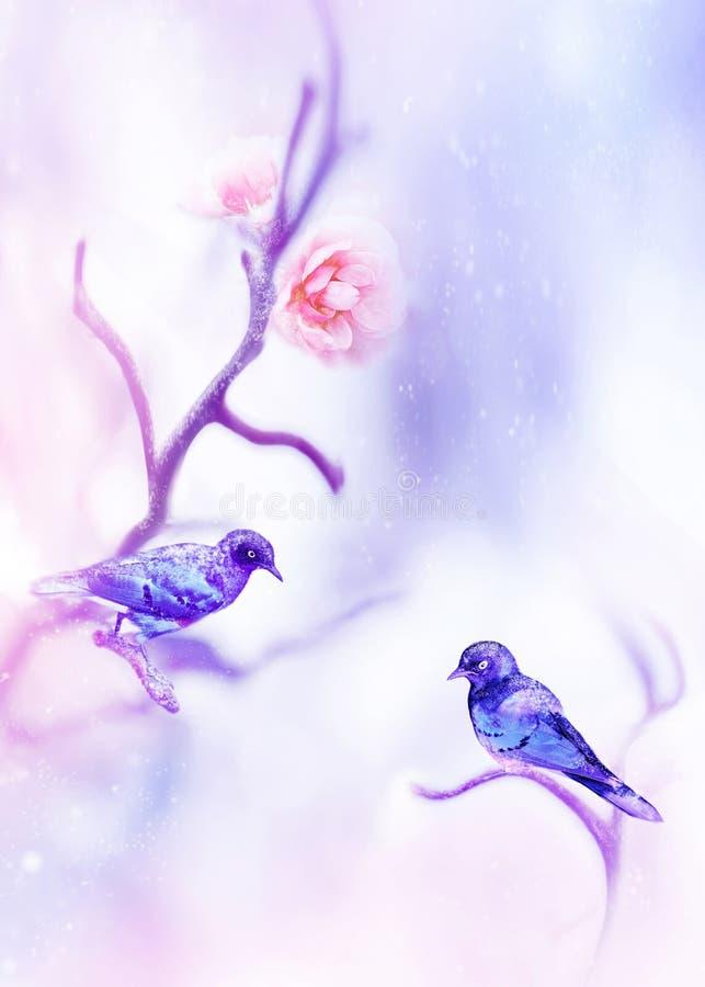 Mooie roze rozen en fantastische kleurrijke kleine vogels in de sneeuw en vorst op een blauwe en roze achtergrond snowing Artisti vector illustratie