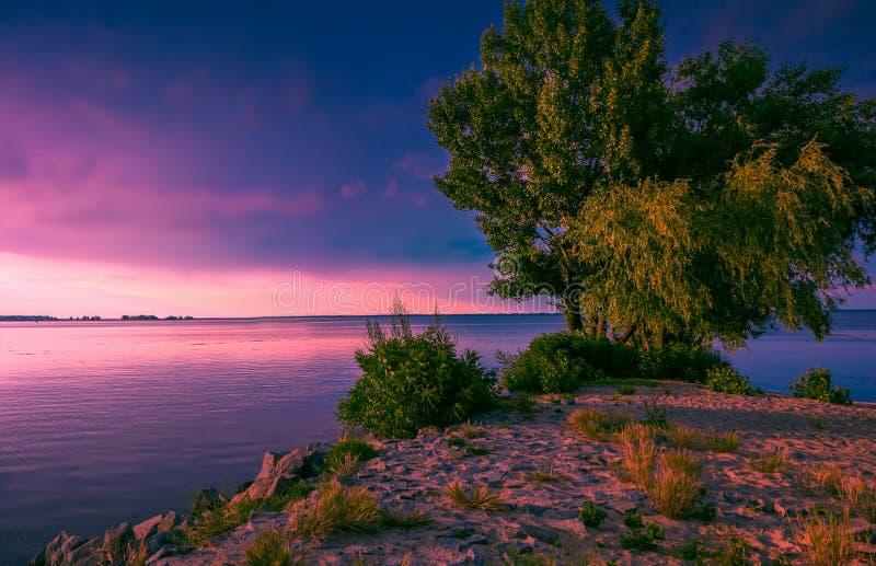Mooie roze zonsondergang over meer royalty-vrije stock foto