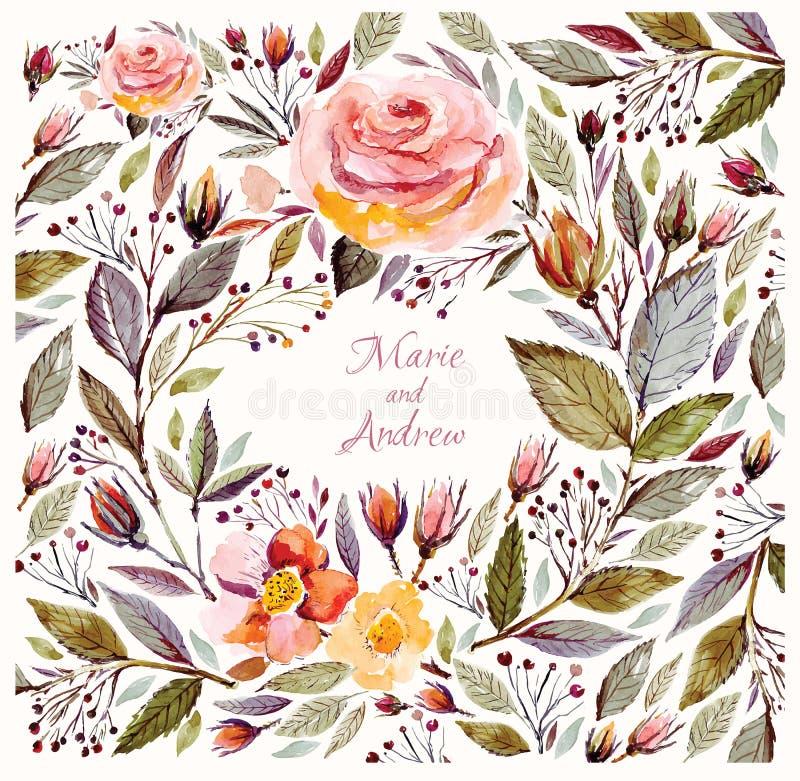 Mooie rozen en bladeren vector illustratie