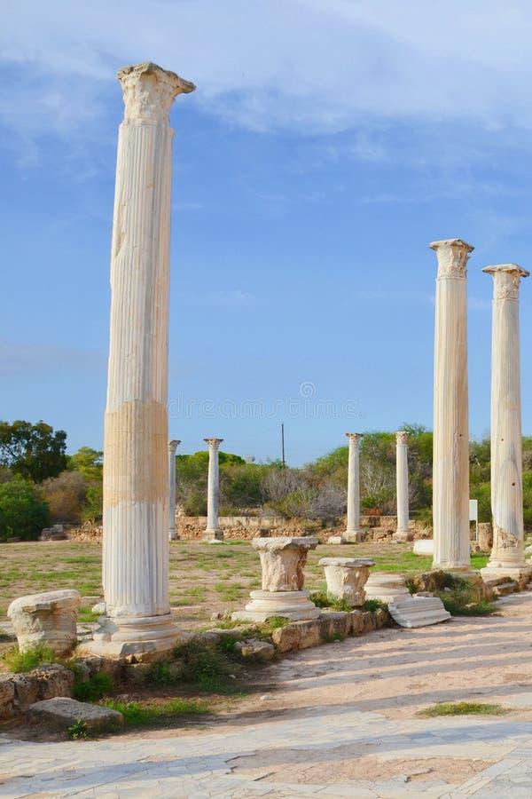 Mooie ru?nes van Corinthische die kolommen met blauwe hierboven hemel worden genomen De pijlers maken deel uit oude Salami comple royalty-vrije stock foto