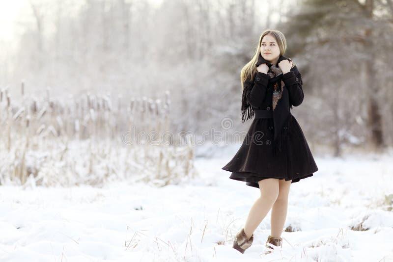 Mooie Russische vrouw bij de winteraard stock foto