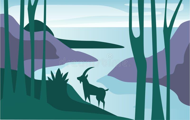 Mooie scène van aard, vreedzaam de zomerlandschap met meer en berggeit, malplaatje voor banner, affiche, tijdschrift vector illustratie