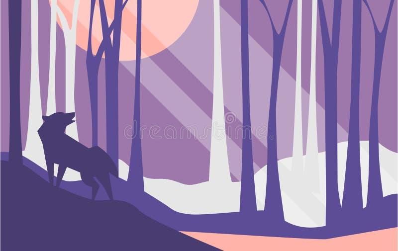 Mooie scène van aard, vreedzaam landschap met bos en wolf bij nacht, malplaatje voor banner, affiche, tijdschrift vector illustratie