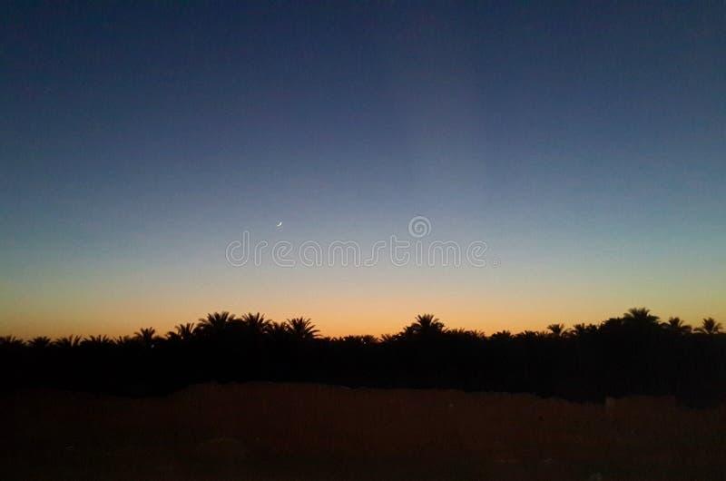 Mooie schemer met een kleine toenemende maan in de hemel in de Sahara stock foto