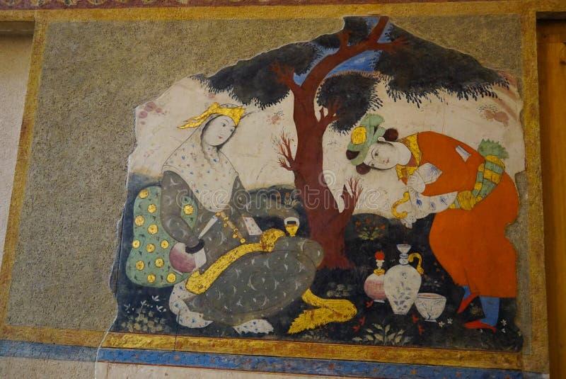 Mooie schilderijen bij het Paleis van Chehel Sotoun, Isphahan, Iran royalty-vrije stock foto