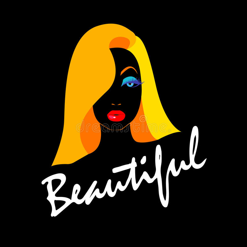 Mooie schoonheid, haar, vector, meisje, jong portret, vector illustratie