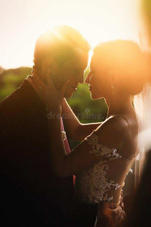Mooie sensuele donkerbruine bruid en knappe bruidegom die bij s koesteren stock fotografie