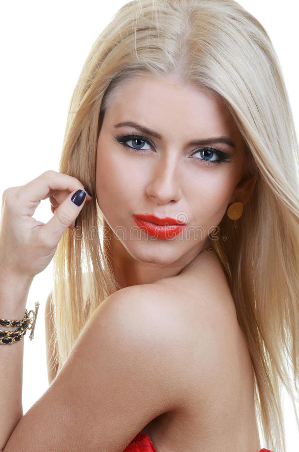 Mooie sensuele vrouw met lang haar royalty-vrije stock fotografie