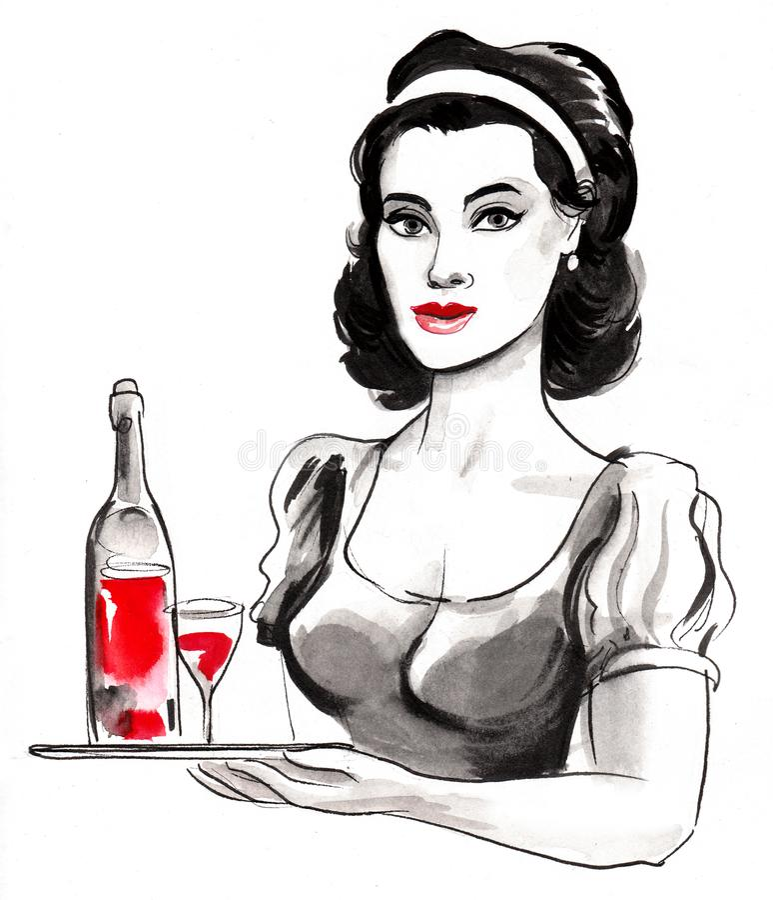 Mooie serveerster royalty-vrije illustratie