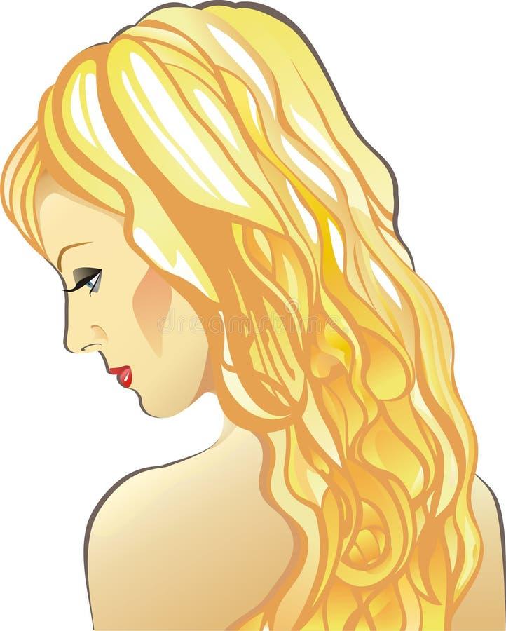 Mooie sexy jonge vrouw met lang eerlijk haar stock afbeelding