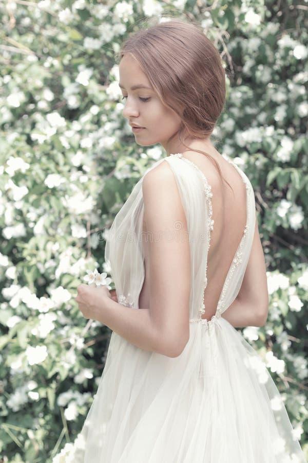 Mooie sexy meisjesbruid in een lichte kleding met gevoelige samenstelling en haar in de jasmijn van de bloemtuin Gestileerd foto  stock fotografie