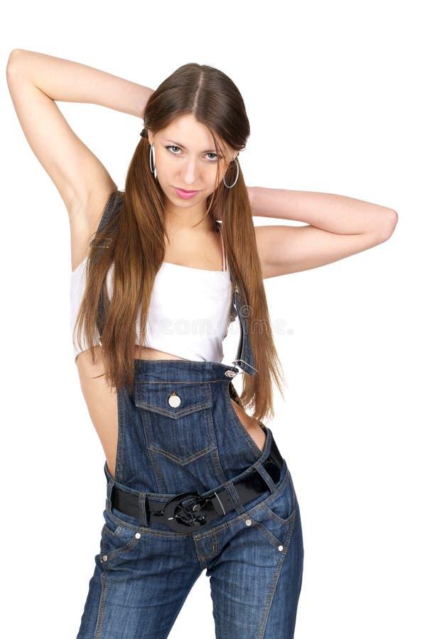 Mooie sexy vrouw in jeans royalty-vrije stock fotografie