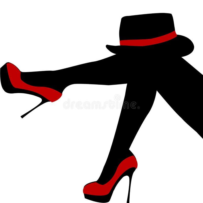 Mooie sexy vrouwenbenen met rode schoenen en hoed stock illustratie