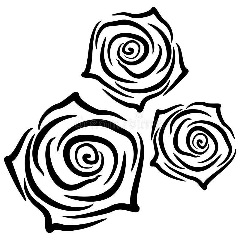 Mooie silhouetten van rozen op witte achtergrond Vector illustratie royalty-vrije stock afbeeldingen