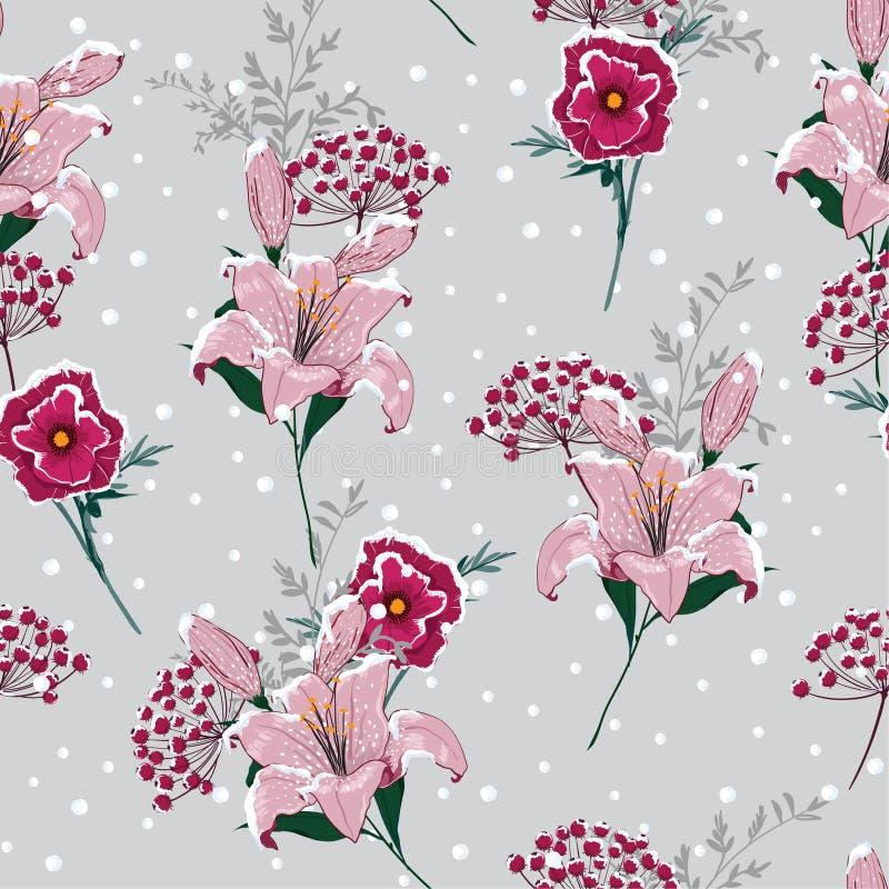 Mooie sneeuw op bloeiende leliebloemen, bessen in de winter s stock illustratie