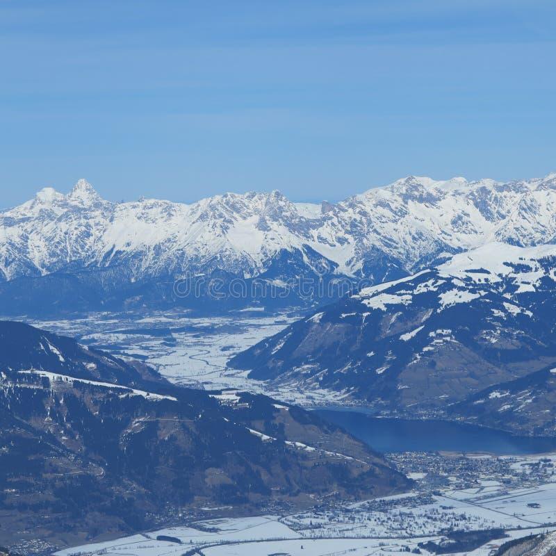 Mooie sneeuwbergen in Oostenrijk voor sport en extreme sporten in de Alpen in Europa royalty-vrije stock foto