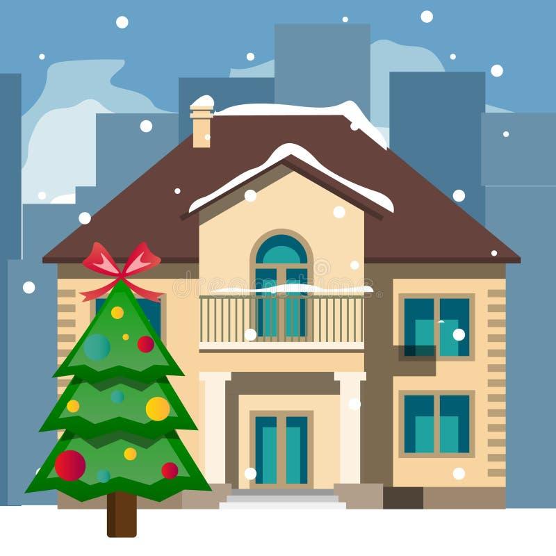 Mooie sneeuwkerstmishuis en boom stock illustratie