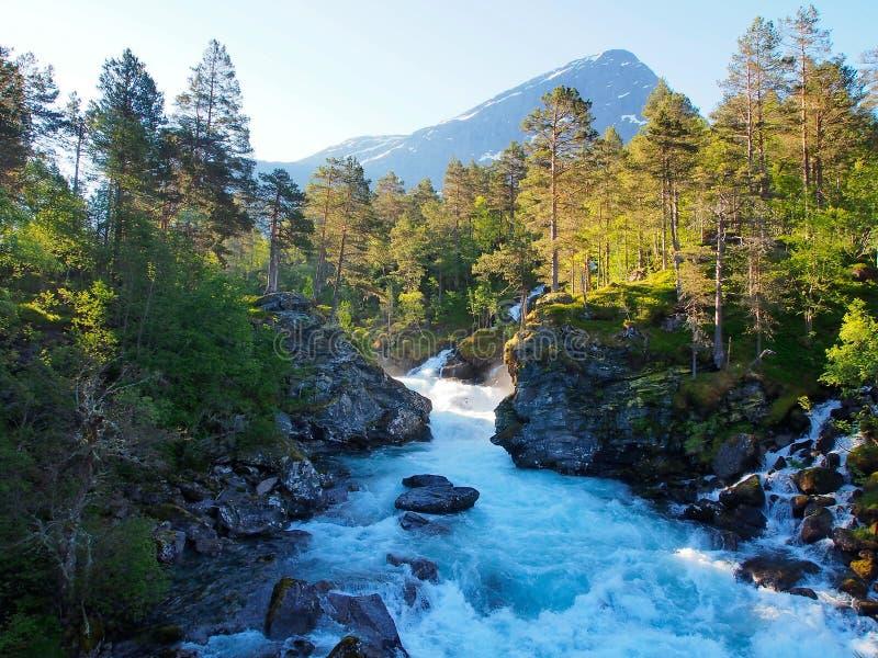 Mooie snelle bergrivier in Noorwegen royalty-vrije stock foto's