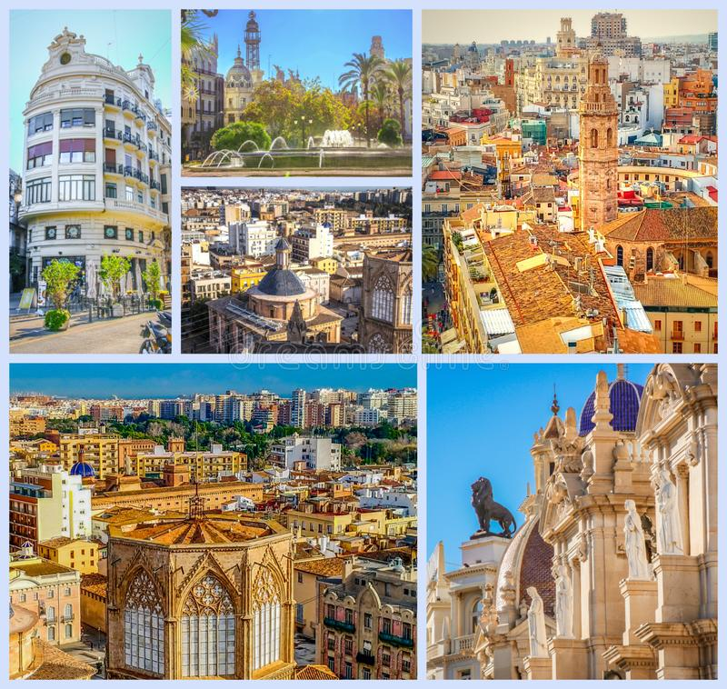 Mooie Spaanse stad van Valencia Foto's van het historische centrum royalty-vrije stock afbeeldingen