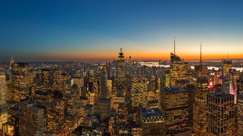 Mooie stad bij zonsondergang in de stad van New York, Manhattan stock foto