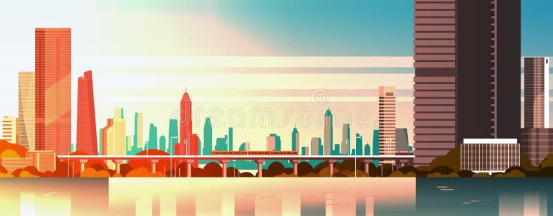 Mooie Stad op Zonsondergangpanorama met Hoge Wolkenkrabbers en Metrocityscape over Waterachtergrond royalty-vrije illustratie