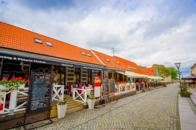 Mooie stad van Simrishamn, Zweden stock foto