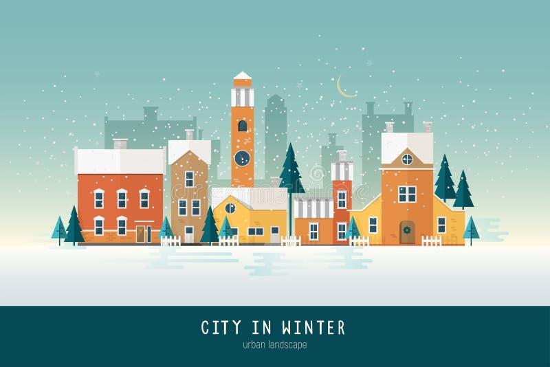 Mooie stedelijke landschap of cityscape met kleurrijke antieke gebouwen, torens en groene nette die bomen met sneeuw worden behan vector illustratie